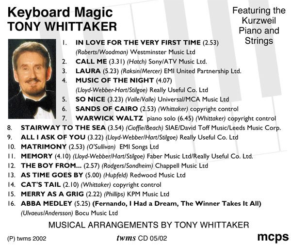 Tony Whittaker - Keyboard Magic (Back)