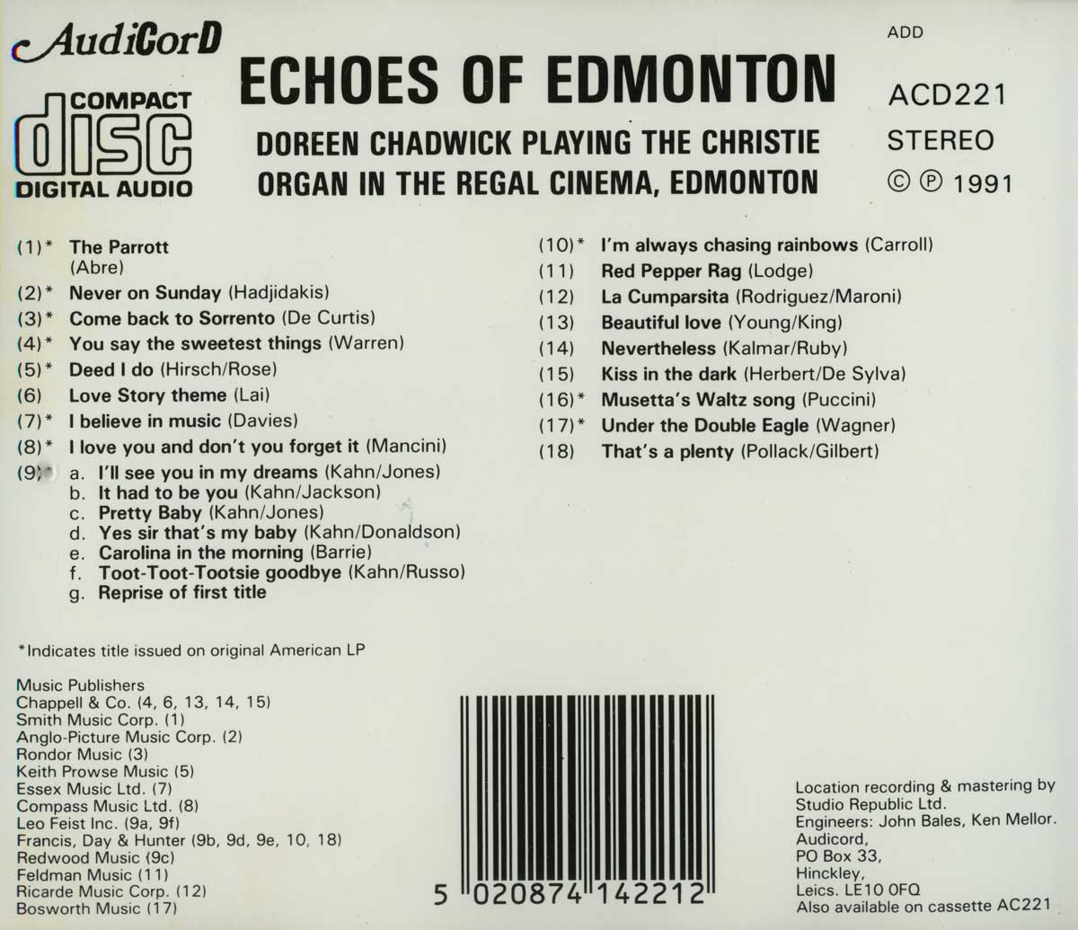 Doreen Chadwick - Echoes Of Edmonton (Inlay)