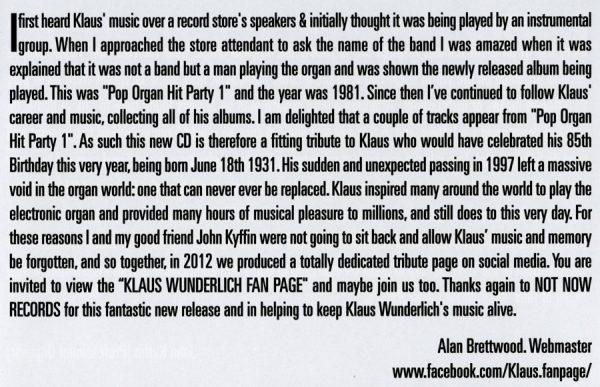 The Great Pop Organ Sound Of Klaus Wunderlich (Alan Brettwood Text)