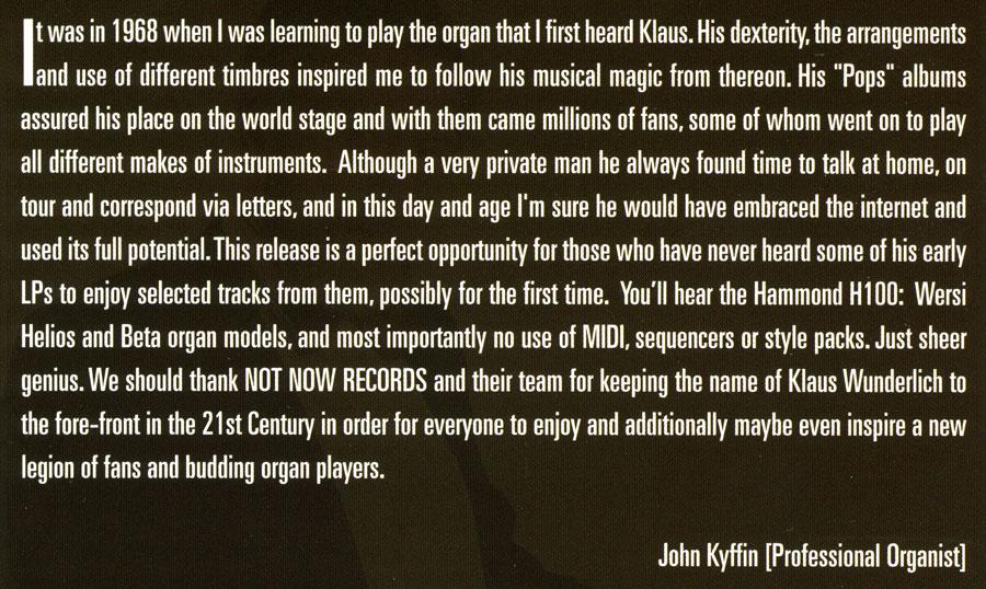 The Great Pop Organ Sound Of Klaus Wunderlich (John Kyffin Text)