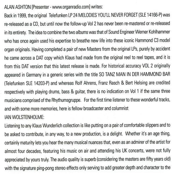 Klaus Wunderlich - 48 Unforgettable Melodies Info