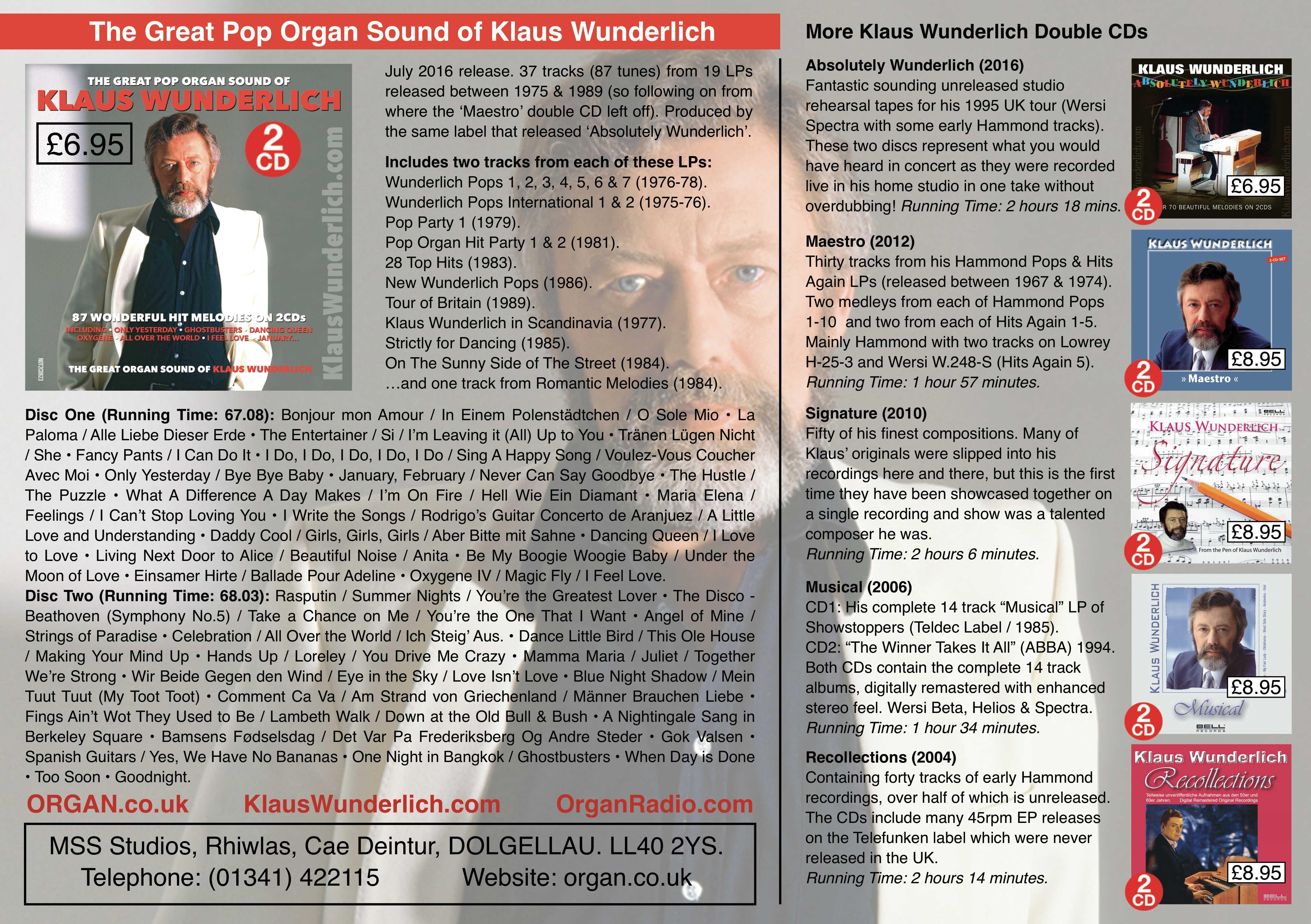 The Great Pop Organ Sound Of Klaus Wunderlich (Promotional Flyer)