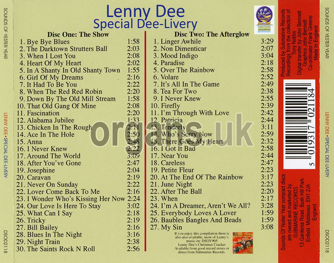 Lenny Dee - Special Dee-Livery (2CD) (2018)