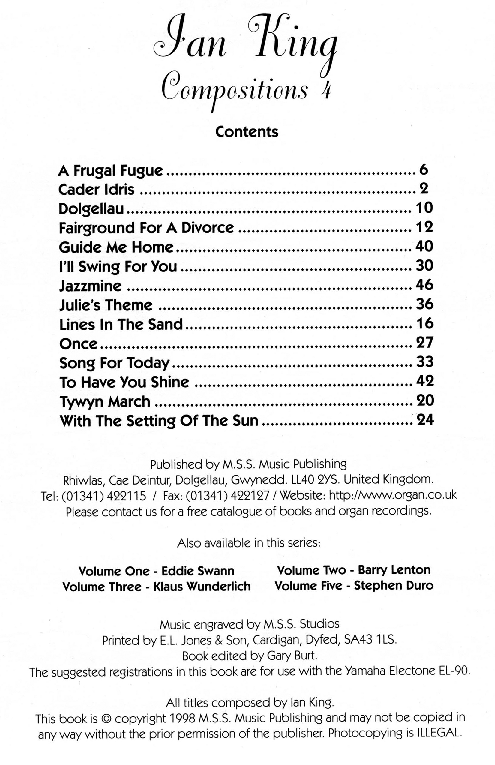 Contents Page of the Book