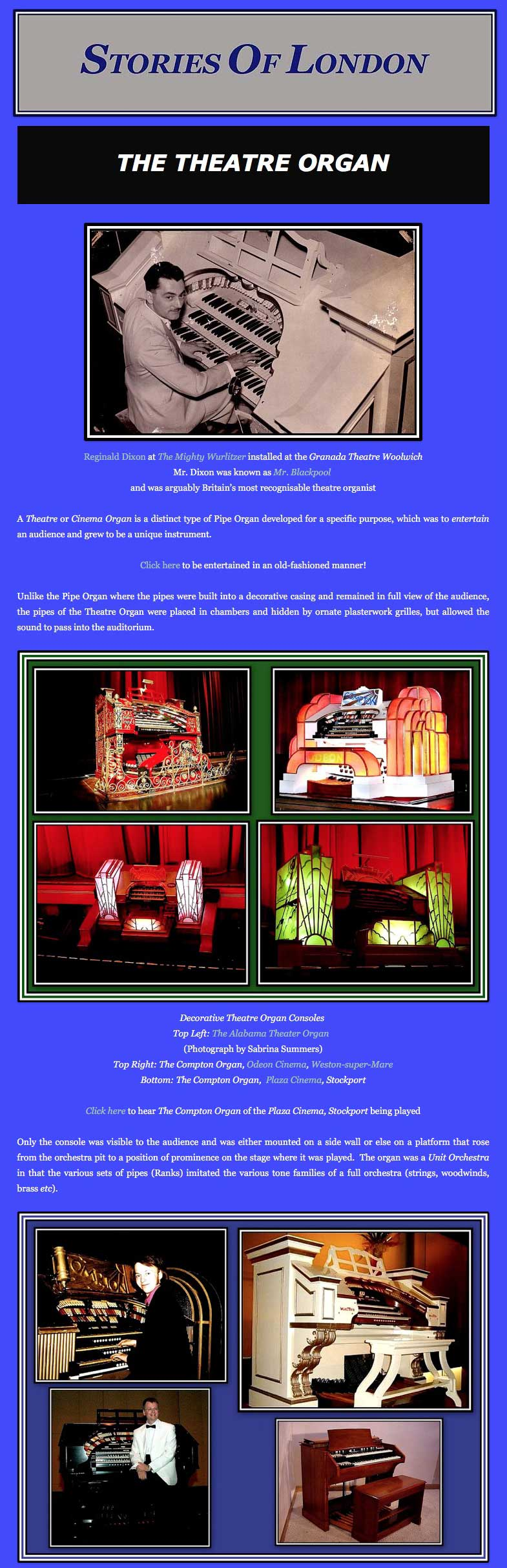 Stories of London - The Theatre Organ (Web Page Sample Images)