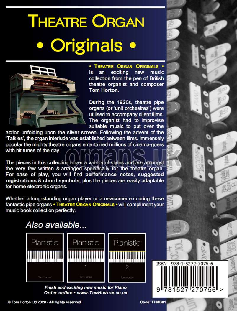 Tom Horton - Theatre Organ Originals - Volume One (Book)