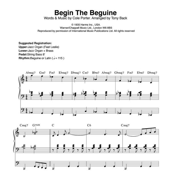 Tony Back - Arrangements from the ORGAN1st Magazine - Beguine The Beguine