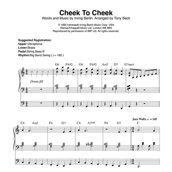 Tony Back - Arrangements from the ORGAN1st Magazine - Cheek To Cheek