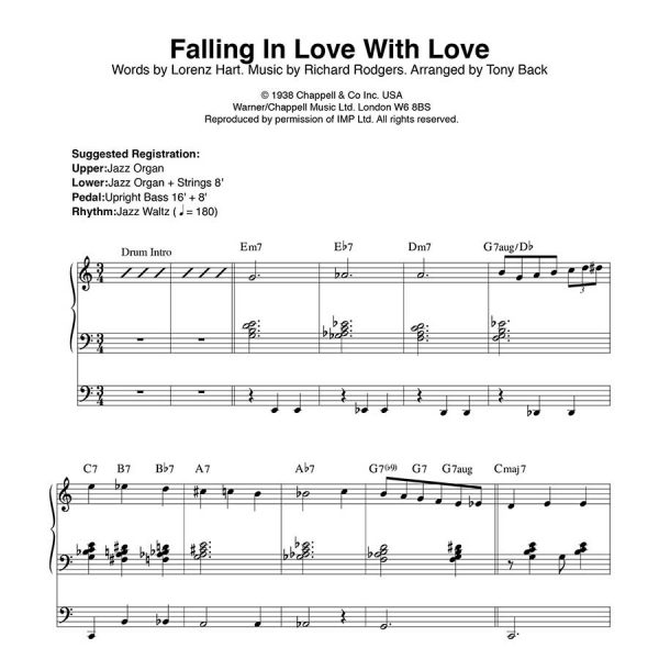Tony Back - Arrangements from the ORGAN1st Magazine - Falling In Love With Love
