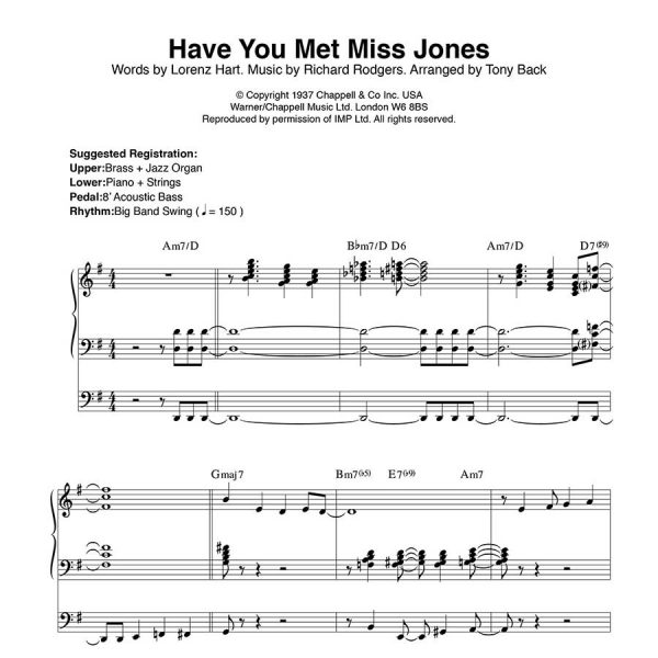 Tony Back - Arrangements from the ORGAN1st Magazine - Have You Met Miss Jones