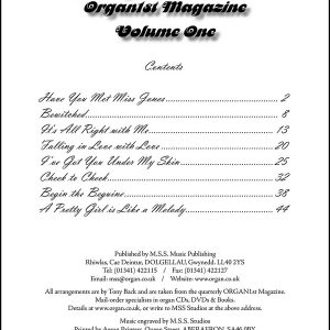 Tony Back - Arrangements from the ORGAN1st Magazine (Title List)