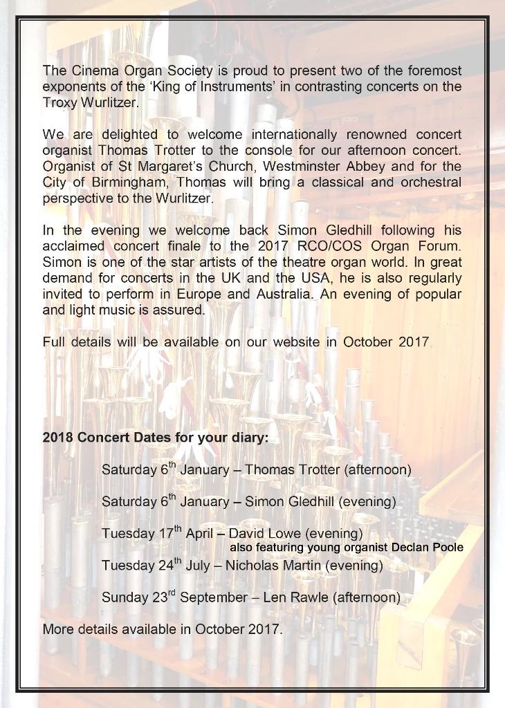 Troxy Wurlitzer Concert - January 2018