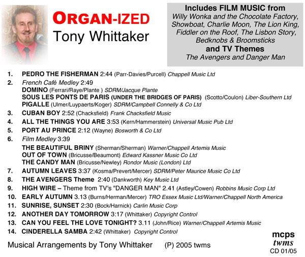 Tony Whittaker - Organ-Ized (Inlay)